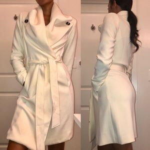 Cream Forever 21 Contemporary Wrap Coat